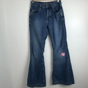 Silver Button Fly Flare Jeans With Lip Patch